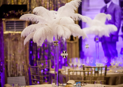 feather centerpiece 20's party